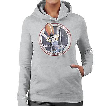 NASA STS 6 Challenger Mission Badge Distressed Women's Hooded Sweatshirt