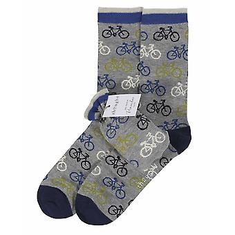 Bicycle men's soft bamboo crew socks and gift bag, in grey | Thought