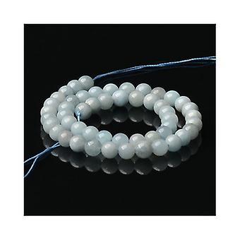 Strand 48+ Blue Aquamarine 7-8mm Plain Round Beads CB50998-3