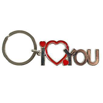 TRIXES kocham Cię Brelok wisior z serca motyw – Metal-3 mm kółko do kluczy-srebrny i czerwony kolor