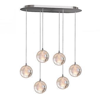 Modern LED Pendant Lights Hanging Lamp Nickel Six Pendant Oval Canopy Brand New