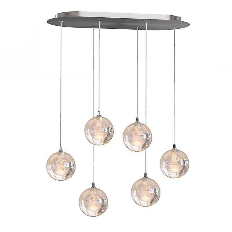 Pendentif moderne de LED s'allume en pendaison lampe Nickel Six pendentif ovale auvent neuf