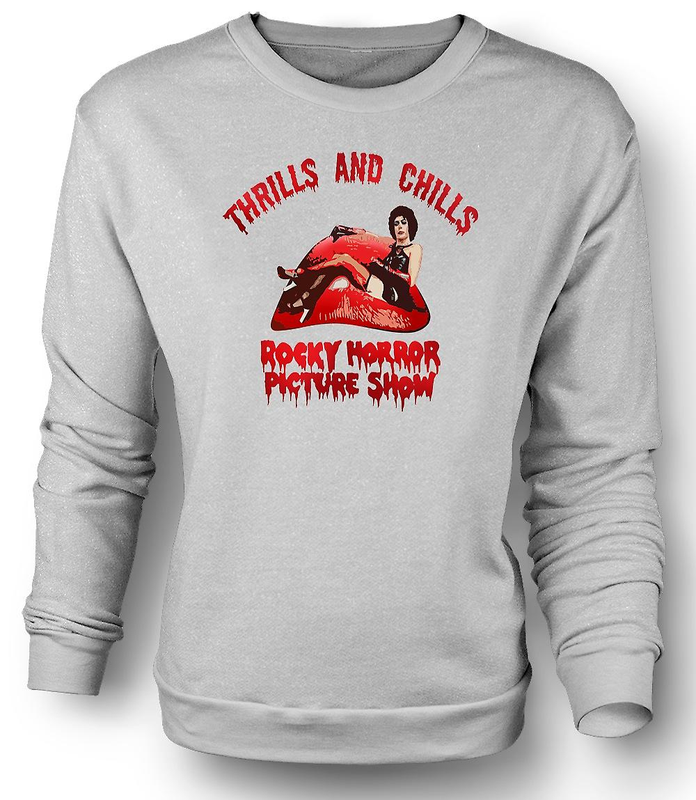 Mens Sweatshirt Thrills Chills Rocky Horror Picture
