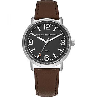 French Connection Mens Watch with Black Dial Leather Strap FC1312ET