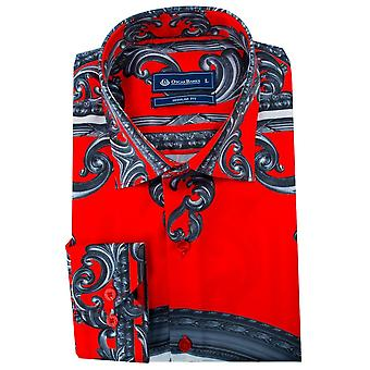 Oscar Banks Red Satin Floral Baroque Print Mens Shirt