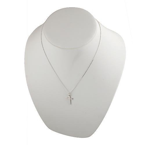 Silver 20x13mm plain solid block Cross with a curb Chain 20 inches