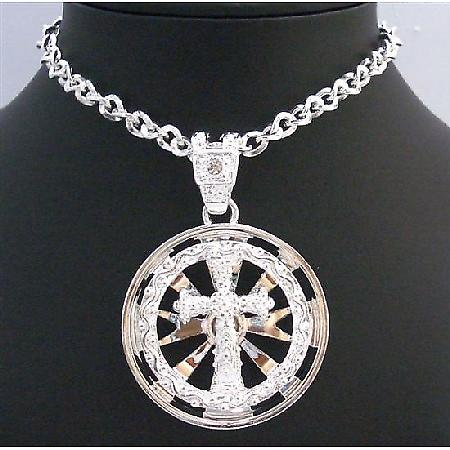 Long Cross Pendant Necklace Spinning Cross Spinning Pendant Necklace