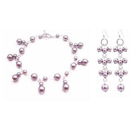 Dainty Sleek Fashionable Lavender Pearls Wedding Bracelet Earrings Set