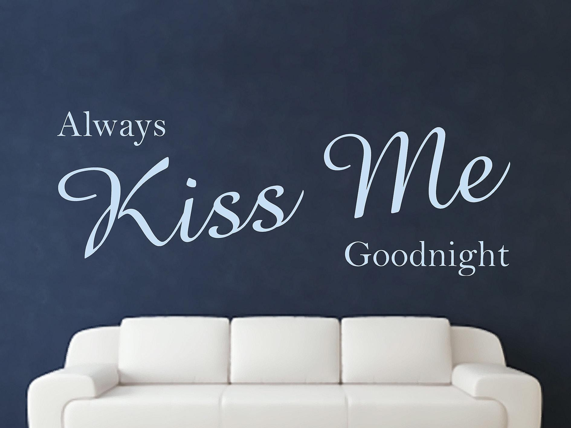 Always Kiss Me Goodnight Wall Art Sticker - Pastel Blue