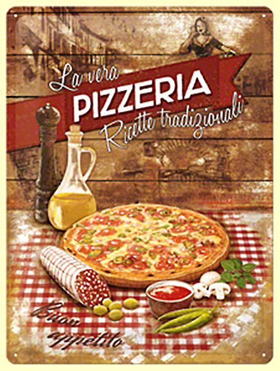 Pizzeria large embossed metal sign  (na3040)