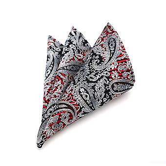 Red & black stripe silver paisley pattern pocket square