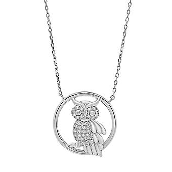 Ah! Jewellery Sterling Silver Pave Set Owl Pendant Necklace With Clear Crystals From Swarovski