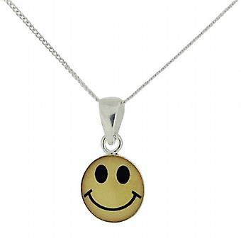 Toc Sterling Silver Adorable Smiley Emoticon Face on 18 Inch Chain