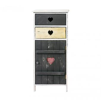 Rebecca Bedside Furniture Cabinet 2 drawers 1 door grey wood Shabby Kitchen