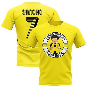 Jadon Sancho Borussia Dortmund Illustration T-Shirt (Yellow)