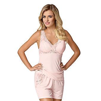 Nipplex Women's Bona Pink Embroidered Lace Pyjama Short Set