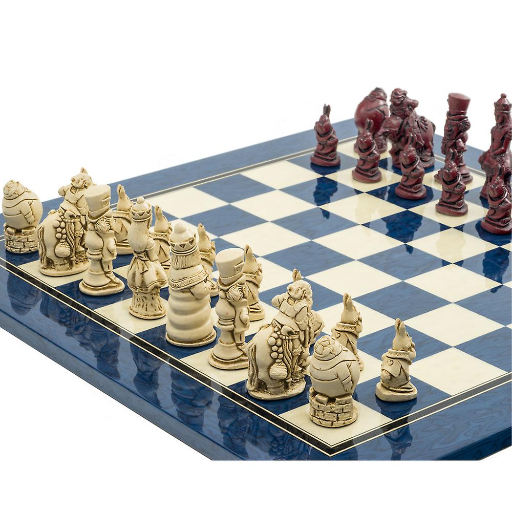 The Alice in Wonderland Cardinal Blue Chess Set by Berkeley Chess