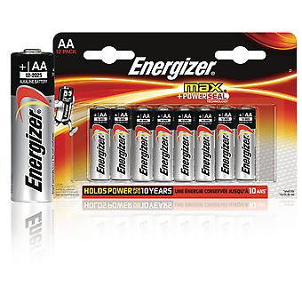 Energizer Max + Powerseal Alkaline Battery AA 1.5 V Max 12-Blister (12-2025