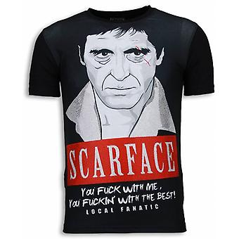 Scarface Red Scar-Digital Rhinestone T-shirt-Black
