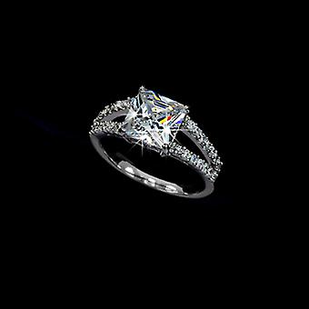 18K White Gold Plated Princess Cut 2.25 Carat Cubic Zirconia Ring