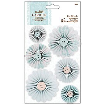 Papermania Eau De Nil Pin Wheels 6 Pkg Pma 359106