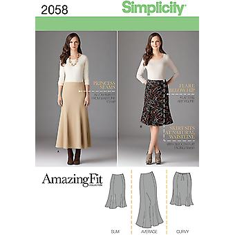 Simplicity Misses' & Plus Size Amazing Fit Skirt 10 12 14 16 18 Us2058aa