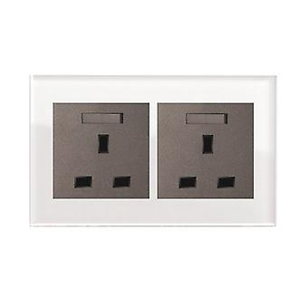I LumoS AS Luxury White Crystal Glass Double Switched Wall Plug 13A UK Sockets