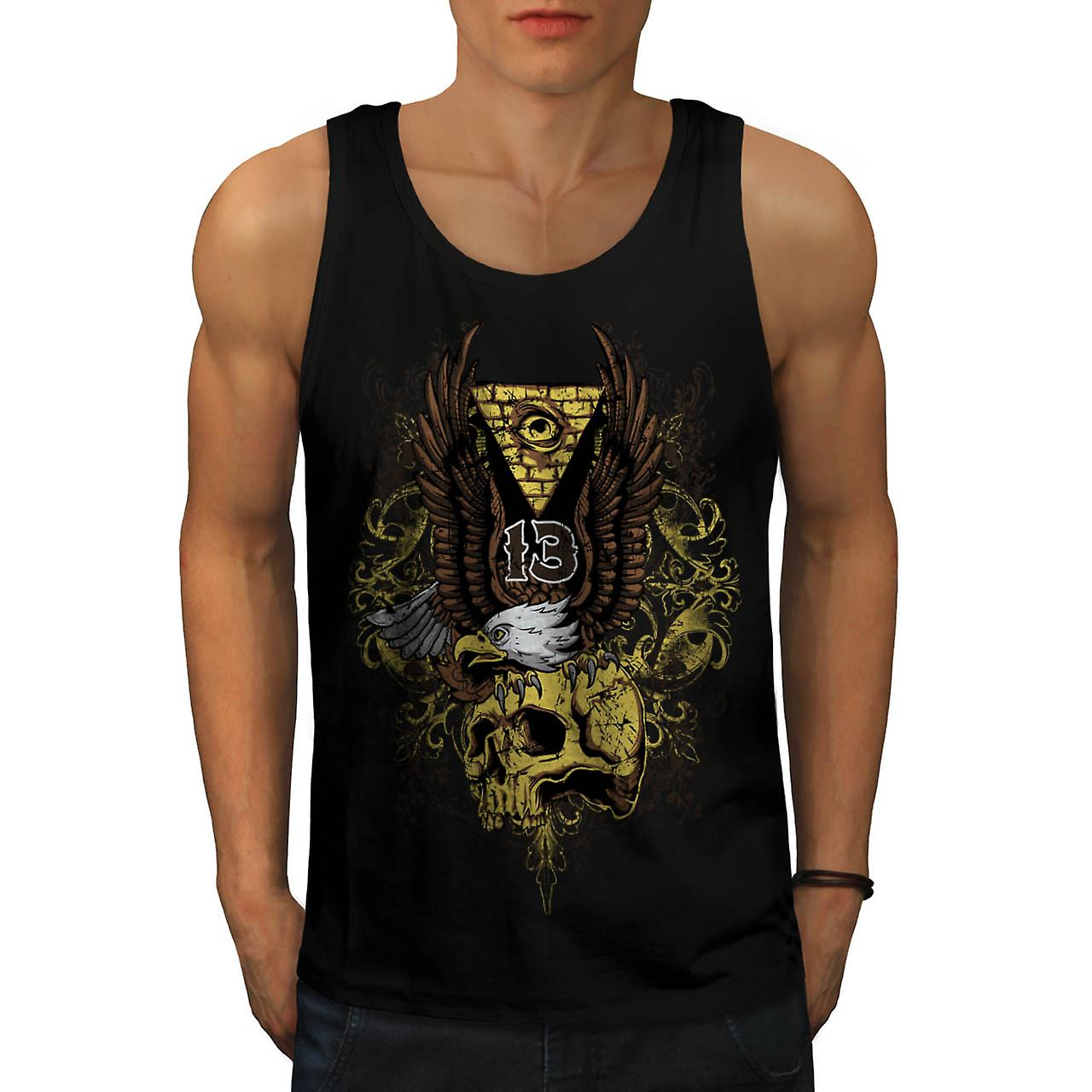Evil Eagle Bird Skull Deadly Eye Men Black Tank Top | Wellcoda