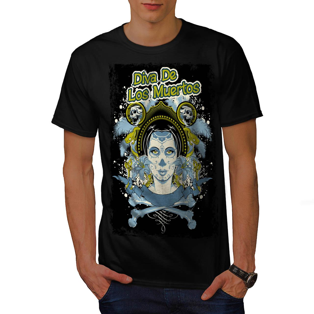 Diva Of The Dead Face Los Muerto Men Black T-shirt | Wellcoda