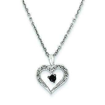 Sterling Silver Black and White Diamond Heart Pendant Necklace - .16 dwt