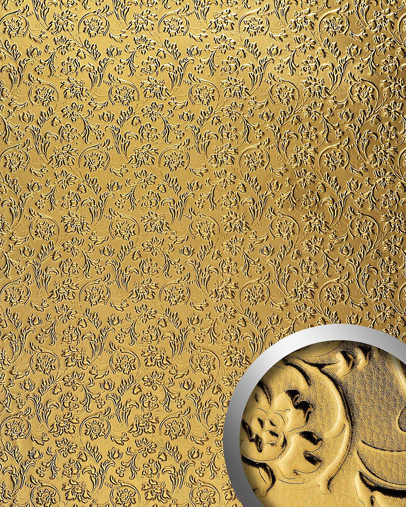 Wall Panel luxury 3D WallFace 14267 FLORAL decor Baroque flowers self adhesive wallpaper covering wall covering gold | 2.60 sq m