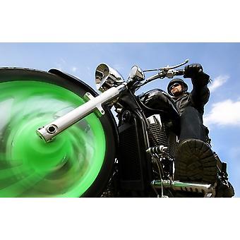 Homem montar A moto PosterPrint
