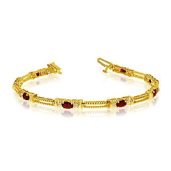 14k Yellow Gold Natural Garnet And Diamond Tennis Bracelet