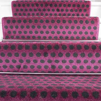 50cm bredde - moderne Polka prikker lilla trappe tæppe