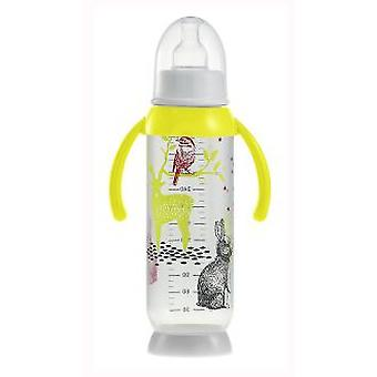 Beaba Half Moon Bunny baby bottle with yellow handles 330 ml