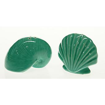 Teal Green Scallop and Nautilus Shells 3-Dimensional Salt Pepper Shakers Set