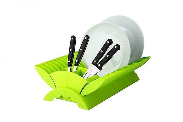 Lime -  Plate Drainer Kitchen Dish Rack With Cutlery Holder Plastic