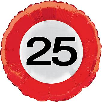 Foil balloon traffic sign number 25 birthday helium balloon party