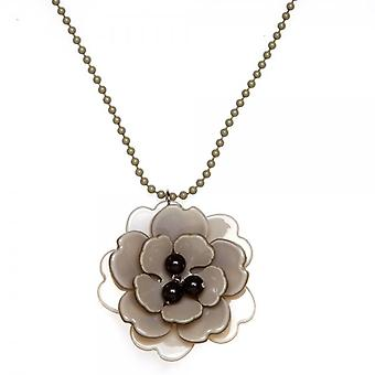 Camille Stone Grey And Black Flower Necklace