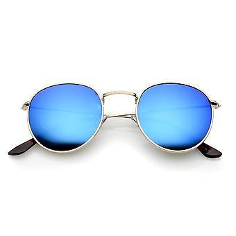 Classic Metal Slim Temple Textured Nose Bridge Mirrored Lens Round Sunglasses 49mm
