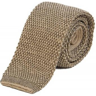 40 Colori Double Threaded Wool and Cotton Knitted Tie - Beige/Mocha