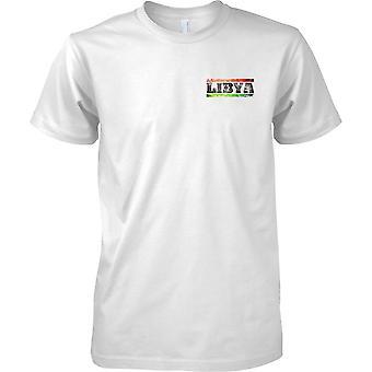 Efecto de bandera de Libia Grunge país nombre - niños pecho diseño camiseta