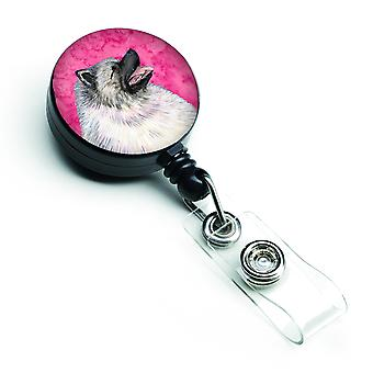 Keeshond  Retractable Badge Reel or ID Holder with Clip SS4764