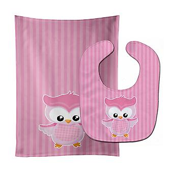 Carolines Treasures  BB9047STBU Girl Bird on Pink Baby Bib & Burp Cloth