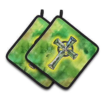 Carolines Treasures  BB5764PTHD Irish Celtic Cross Pair of Pot Holders
