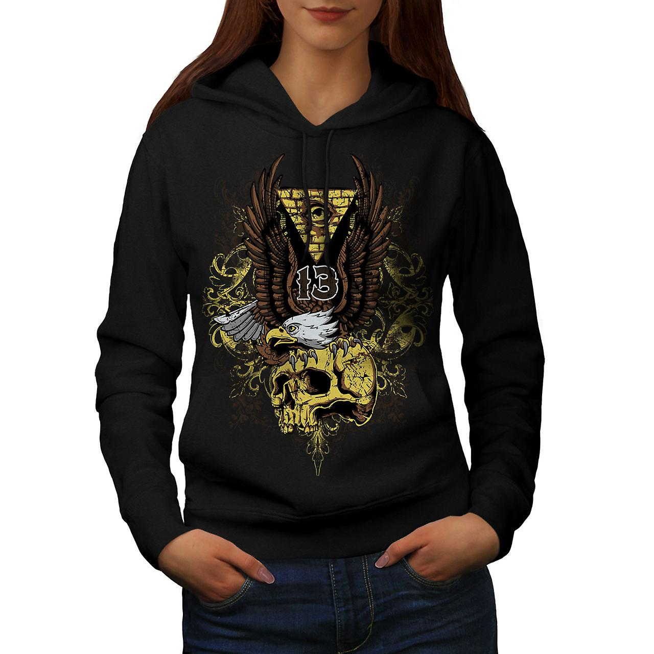 Illuminati Eagle Skull Women Black Hoodie | Wellcoda