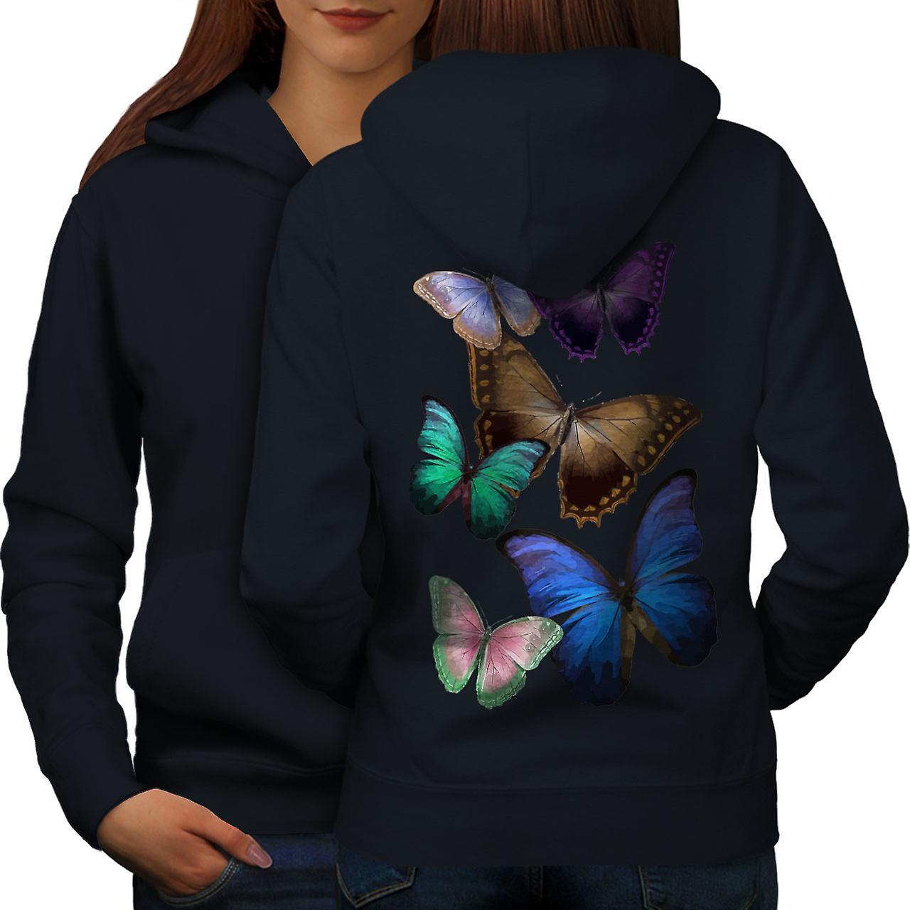 Papillon multiCouleures femmes NavyHoodie dos