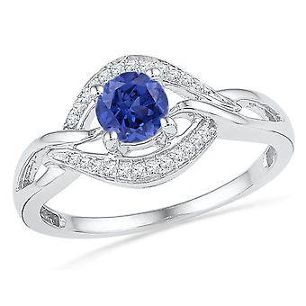 Lab Created Blue Sapphire 1/2 Carat (ctw) Ring in Sterling Silver with Diamonds 1/10 (ctw)
