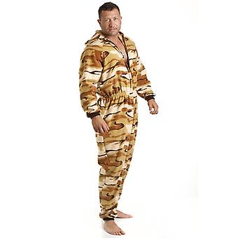 Camille Mens All In One Sand Desert Print Fleece Hooded Pocketed Pyjama Onesie Size S-5XL