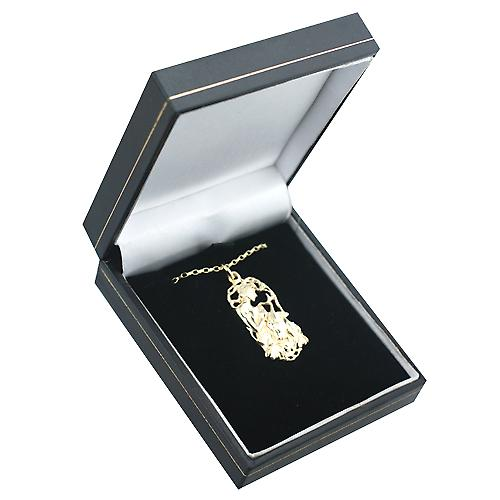 9ct Gold 33x17mm Capricorn Zodiac Pendant with a Belcher chain